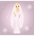 Girl In Retro Wedding Dress vector image