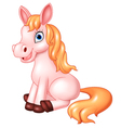 Cartoon of beautiful pink horse sitting isolated vector image