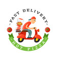 delivery pizza badge man on scooter vector image