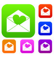 envelope with valentine heart set color collection vector image