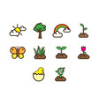 flat color spring season icon set vector image