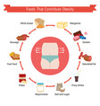 foods that contribute to obesity foods that vector image