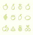 Fruit outline icon set flat design vector image