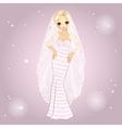 Girl In Retro Wedding Dress vector image