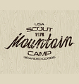 Mountain scout emblem for t shirt vector image