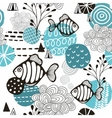 Seamless pattern with l fish in northern sea vector image