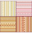 Set of colorful ethnic seamless pattern design vector image