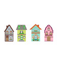 set of detailed colorful cottage houses vector image