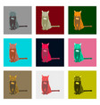 set of in flat style cat vector image