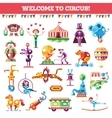 Set of modern flat design circus and carnival vector image