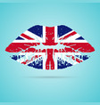 united kingdom flag lipstick on the lips isolated vector image
