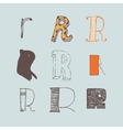 set of colorful alphabet letters R vector image