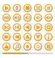 Orange Media Player Buttons vector image vector image