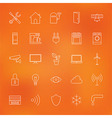Smart Home Technology Line Icons Set over Blurred vector image