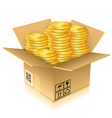 Cardboard Box with Gold Coins vector image vector image