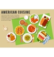 Bbq party flat icon with american cuisine dishes vector image