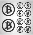 Bitcoin euro dollar font and yen money icons vector image