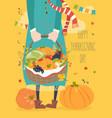 girl holding basket with vegetables vector image