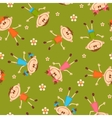 Seamless pattern with children on grass and vector image