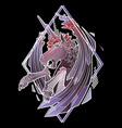 graphic demonic unicorn vector image