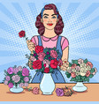 woman florist making bunch of flowers pop art vector image