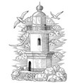 old light house with gulls and stones vector image