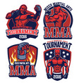 mma fighter badge set vector image