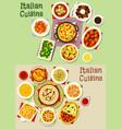 italian cuisine pasta dishes icon set food design vector image