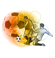 football players on the fire background vector image