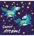 Sweet card with cute unicorns cartoon vector image