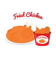 fried chicken cartoon flat style vector image