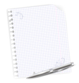 notebook sheet with metal ballpoint vector image
