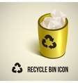 realistic yellow recycle bin icon vector image