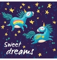 Sweet card with cute unicorns cartoon vector image