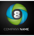 Number eight logo symbol in the colorful circle on vector image