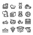 Outline toy icon set vector image