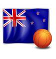 A ball in front of the flag of New Zealand vector image vector image