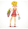 beautiful blond girl with shopping bags in pink vector image