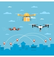 Drone technology concept with flying robots vector image