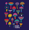 mushrooms set in hallucinogenic colors vector image