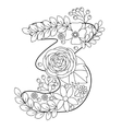Number 3 coloring book for adults vector image