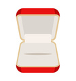 Open an empty box for jewelry Beautiful red box vector image