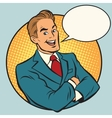 Retro businessman in a comic book frame vector image