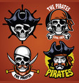 set of pirate badge vector image