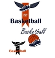 Basketball ball and winged sneakers symbol vector image