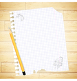 notebook sheet with drawing and pencil vector image vector image
