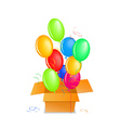 balloons out of the box up in the air vector image vector image