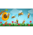 Bees flying out of beehive in the garden vector image