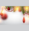 blurred background with red christmas balls vector image
