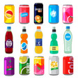 fizzy drinks in glass bottles colored vector image